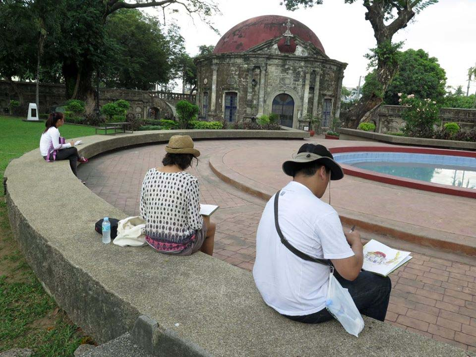 "Paco Park, Manila. Sketchers participating in ""Drawing Manila"" Project."